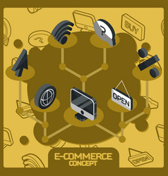 e-commerce color concept isometric icons vector image
