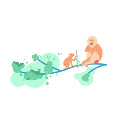 family of monkey mandrill on a tree vector image