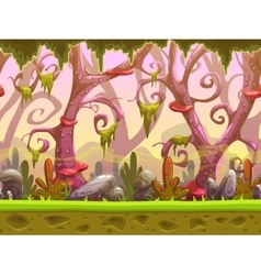 Fantasy cartoon forest seamless landscape vector