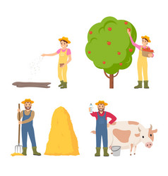 farmer sowing seeds icons set vector image