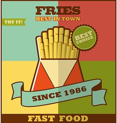 Fast food menu Hot fries vector image