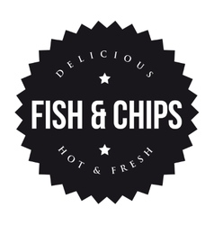 Fish and Chips vintage black stamp vector image