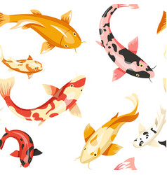 fish exotic cold blooded animals seamless pattern vector image