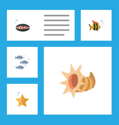 flat icon marine set of seafood scallop tuna and vector image
