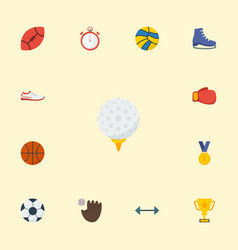 flat icons basket ice boot trophy and other vector image