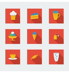 Flat icons for cafe vector image