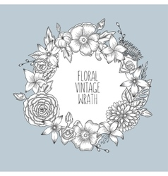 floral vintage round wreath flowers vector image