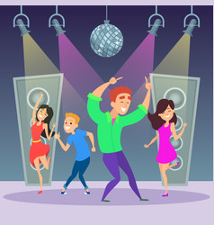 Funny people dancing on dance floor disco party vector