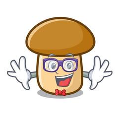 Geek porcini mushroom character cartoon vector