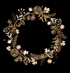 gold autumn floral wreath on black background vector image