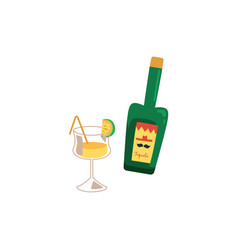 green tequila bottle and yellow drink in cocktail vector image