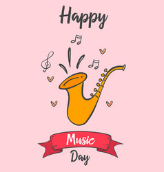 Greeting card of music day art vector