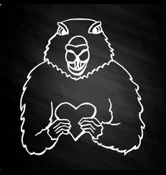 groundhog day hand drawn on the chalkboard vector image
