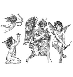 Hand drawn vintage art angels in old style vector