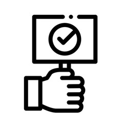 hand holding tablet with approved mark icon vector image