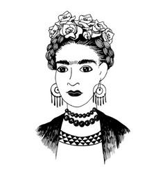 Hand sketched frida kahlo portrait vector