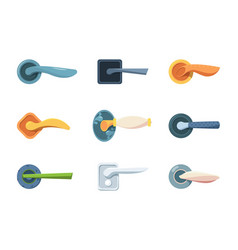 handle doors classical and modern locks doors vector image