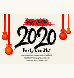 Happy new year 2020 black number with hanging red vector