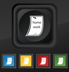 Homework icon symbol Set of five colorful stylish vector