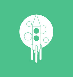 Icon rocket and moon vector