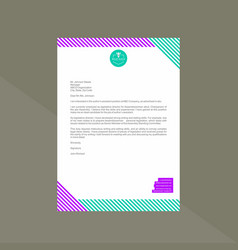 Letterhead with bright purple and mint vector