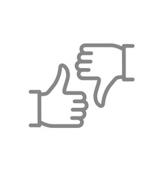 Like and dislike line icon thumb up and thumb vector
