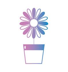 line natural flower with petals inside flowerpot vector image