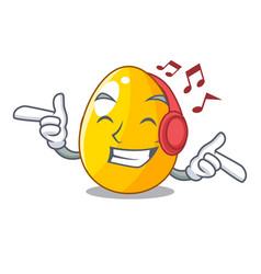 Listening music simple gold egg on design vector