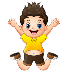 little happy boy jumping vector image