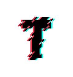 logo letter t glitch distortion diagonal vector image