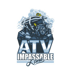 Logo with atv and racer on top cliff in cartoon vector