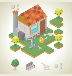 Man and his pet in front of his house vector