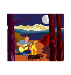 Man Camping Playing Guitar vector image