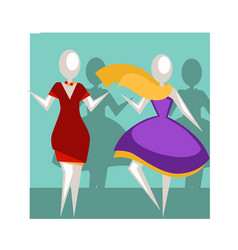 Mannequins in evening dresses with accessories in vector