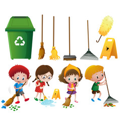 Many children doing chores with different vector