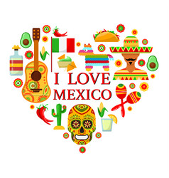 Mexican attributes in shape of heart vector
