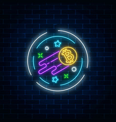 Neon sign of growing bitcoin currency vector