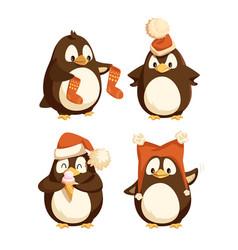 North pole cartoon penguins in warm winter cloth vector