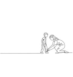 One continuous line drawing young arabian dad vector