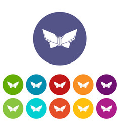 Origami butterfly icons set color vector