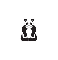 panda logo black and white head vector image