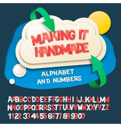 Paper alphabet letters and numbers with cloud vector