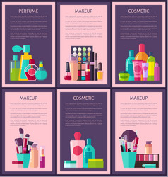 Perfume makeup cosmetic cards vector