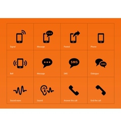 Phone icons on orange background vector image