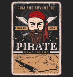 Pirate poster vintage sailor captain treasure map vector