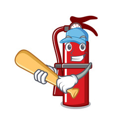 Playing baseball fire extinguisher character vector