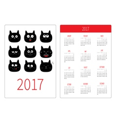 Pocket calendar 2017 year Week starts Sunday Flat vector