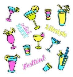 Pop art set with fashion patch badges Cocktails vector image