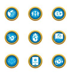 Prosperous icons set flat style vector