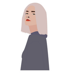 Proud girl on white background vector